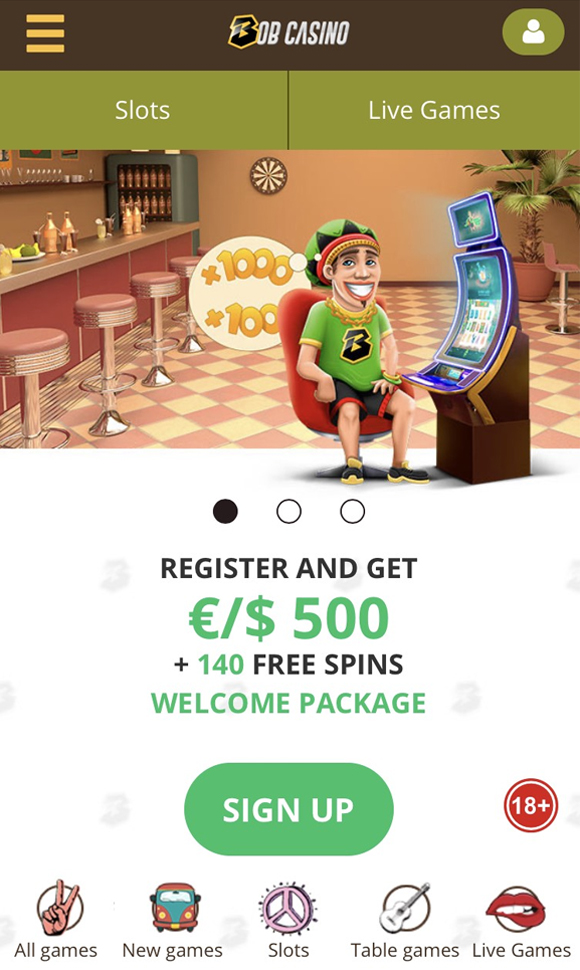 Bob Casino homepage op mobiel