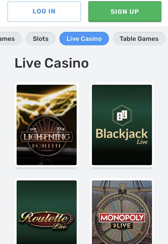 Casilando live casino op mobiel