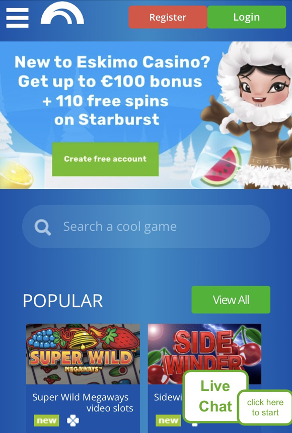 Eskimo Casino homepagina op mobiel