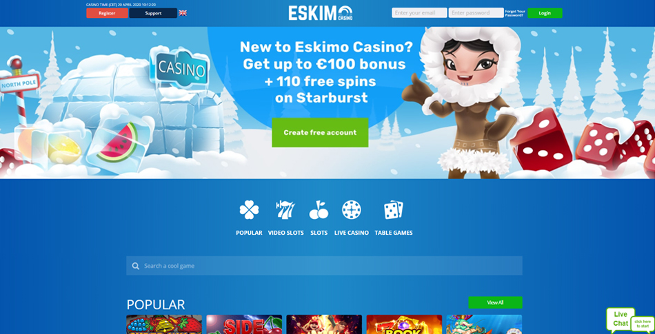 Eskimo Casino homepagina
