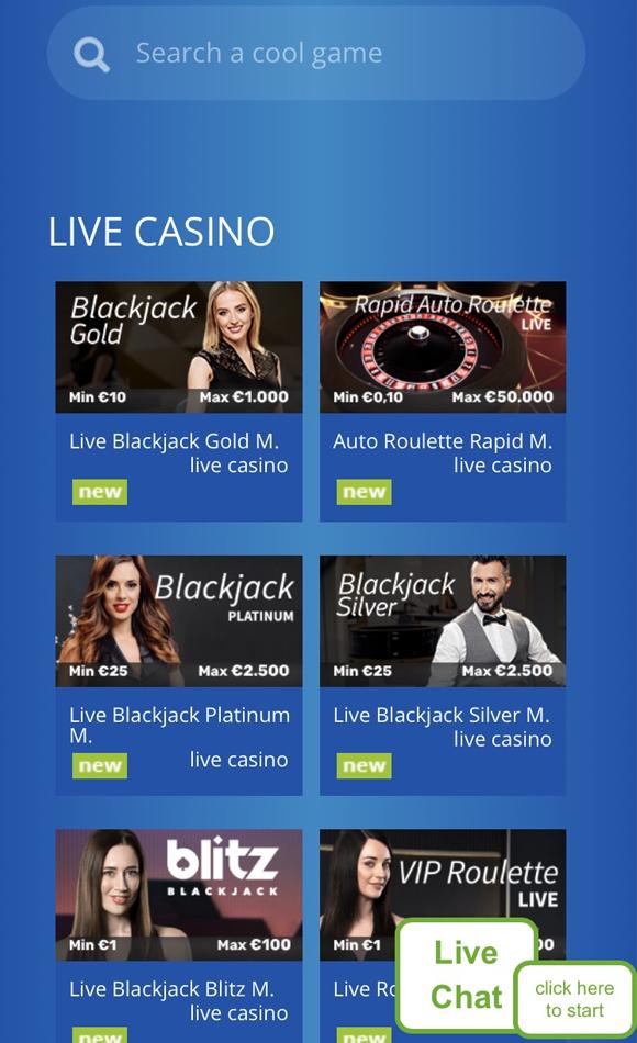 Eskimo Casino live casino pagina op mobiel