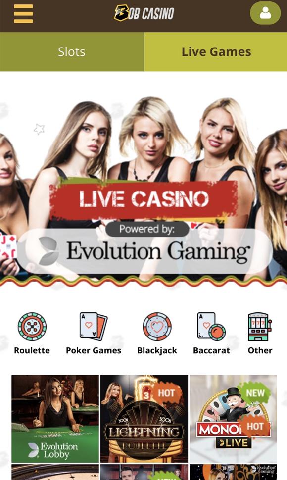 bob casino live pagina op mobiel