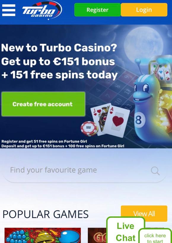 turbo casino mobiel