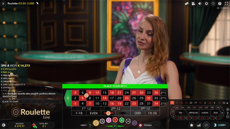 Live roulette inzetten