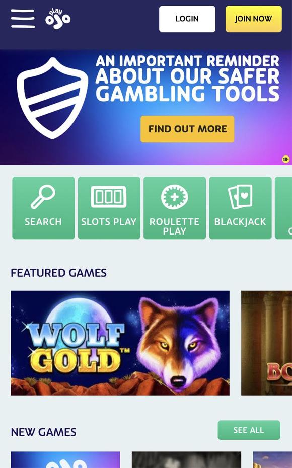 PlayOJO casino homepagina op mobiel