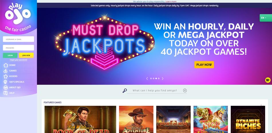 PlayOJO casino homepagina